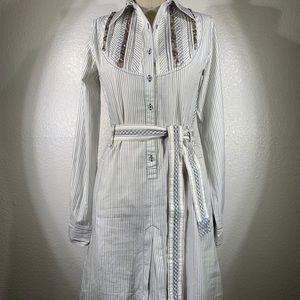 Johnny Was 3J Pinstripe Dutch Dress Size S NWT